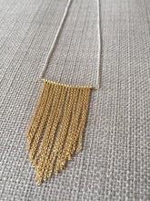Load image into Gallery viewer, Chevron Chain Fringe Necklace