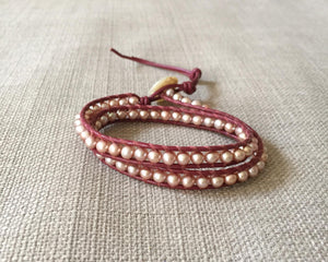 Pink Freshwater Pearl Double Wrap