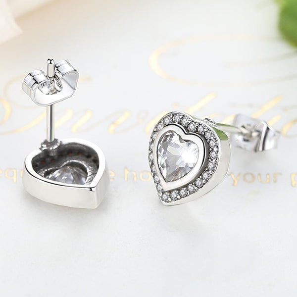 925 Silver sterling Sparkling Love twin Heart Studs Earrings + gift box