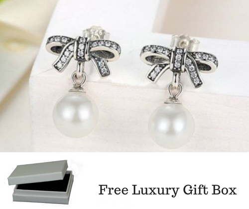 Silver Sterling Delicate Sentiments Bow knot Pearl earrings