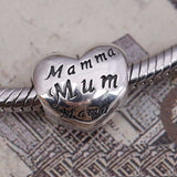 Silver Plated mamma Mom Mum Heart Mother's Day Charm