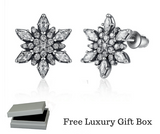 Silver Sterling Delicate Crystallised Snowflake Stud Earrings