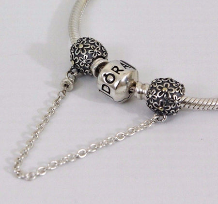 Silver Sterling Hearts of Mickey Minnie Mouse Safety Chain