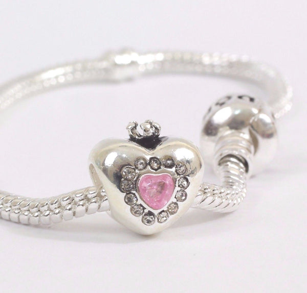 Silver Plated Heart Crown Pink Disney Charm fits pandora