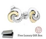Silver Sterling two tone interlinked circles earrings