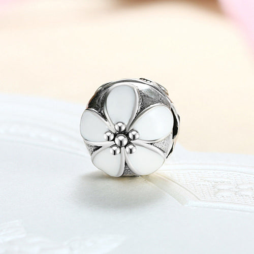 Silver Plated white Cherry Blossom lock Clip Stopper Charm