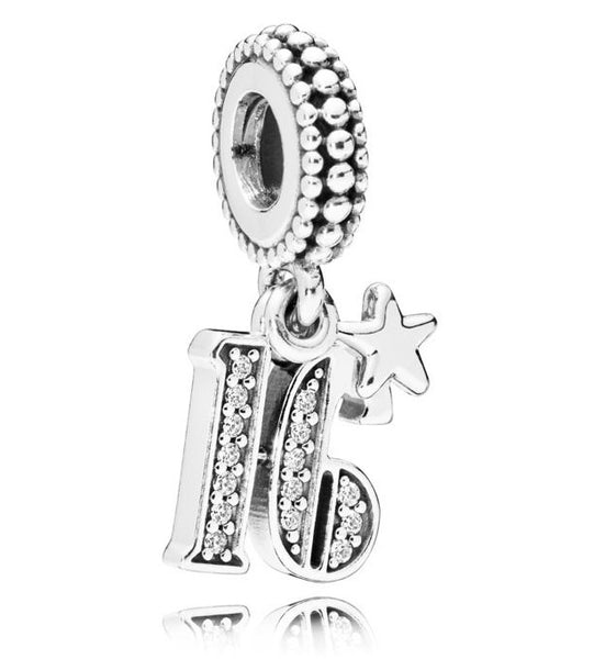 925 Silver Sweet 16th Years  Of Love Number Pendant Charm
