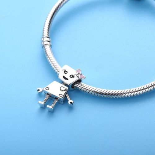 Silver / Gold Bella Bot Robot Pink Bow Girl Friend Charm