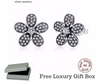 Silver Sterling Dazzling Sparkling Daisy Flower Earrings