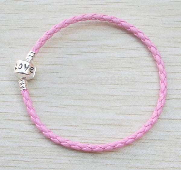 Silver Plated Love Clasp Leather Woven Braided Cord Bracelet