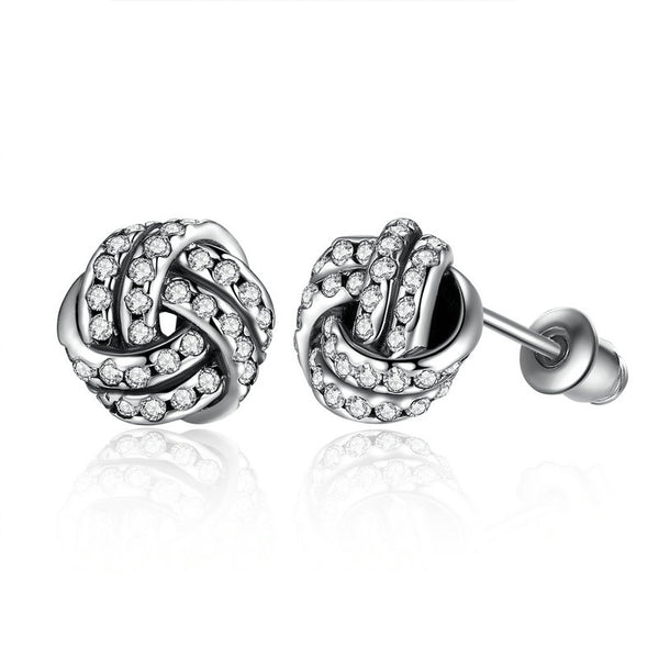 Sterling Silver Pave Sparkling Love Knots Stud Earrings  pandora