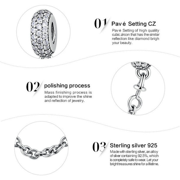 Silver Sterling PAVÉ INSPIRATION Stone Safety Chain