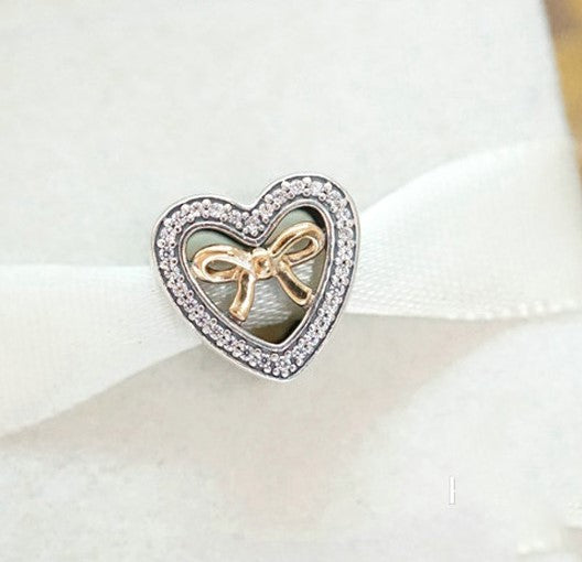 In Love Connected Heart Gold Bow Stone Charm pandora style