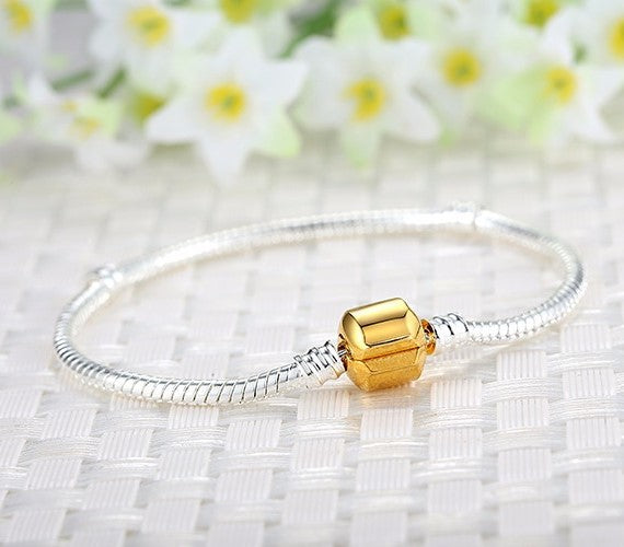 Silver Plated Starter Classic Barrel Gold Clasp Bracelet