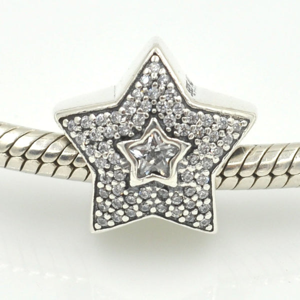 Silver Sterling Pave Wishing Star Charm