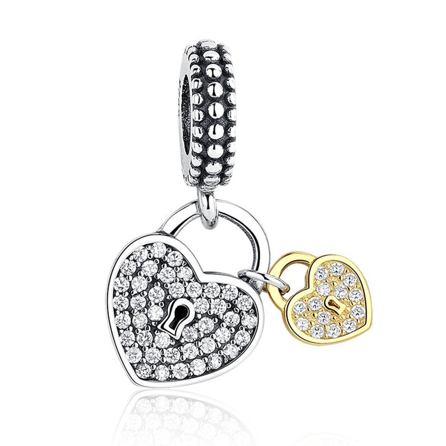 Silver Plated Love Locks two tone Charm