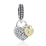 Silver Sterling Love Locks two tone Charm