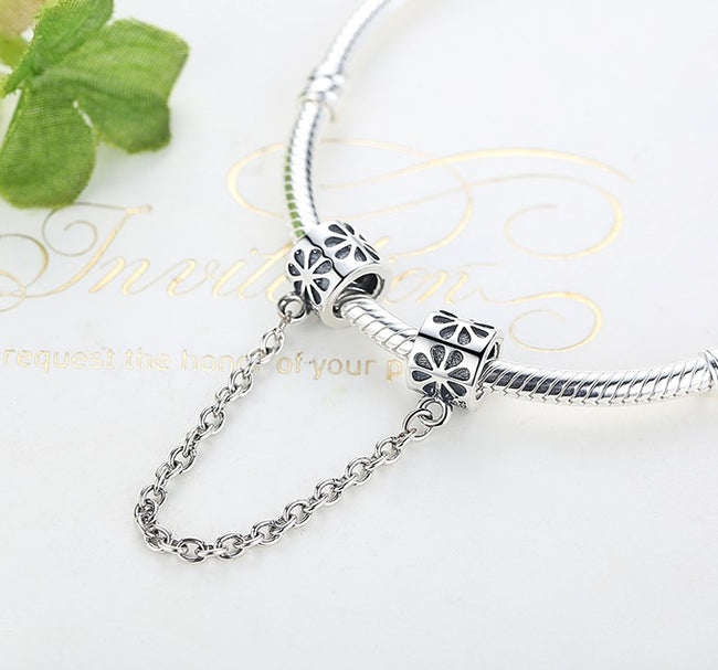 Silver Sterling Floral daisy flower safety chain