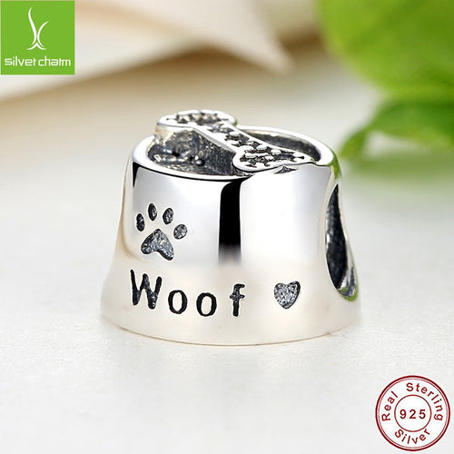 Dog Paw Woof Pet animal heart Feeding bowl Charm