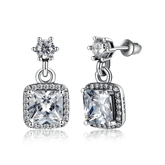 Solid 925 Sterling Silver Sparkling Timeless Elegance Drop Earrings pandora