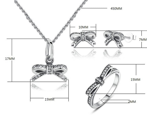 Sparkling Delicate Bow Know Pendant, Ring & Earrings Gift Set