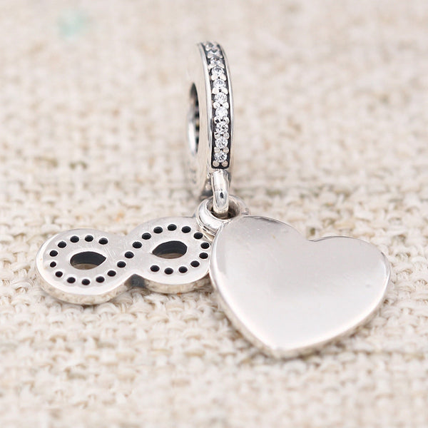 Silver Sterling Best Forever Friends love Heart Pendant Charm
