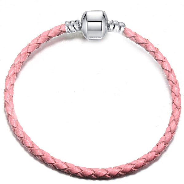 Silver Plated Leather Woven Braided Cord Bracelet
