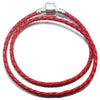 Silver Plated Double Leather Woven Braided Cord Bracelet