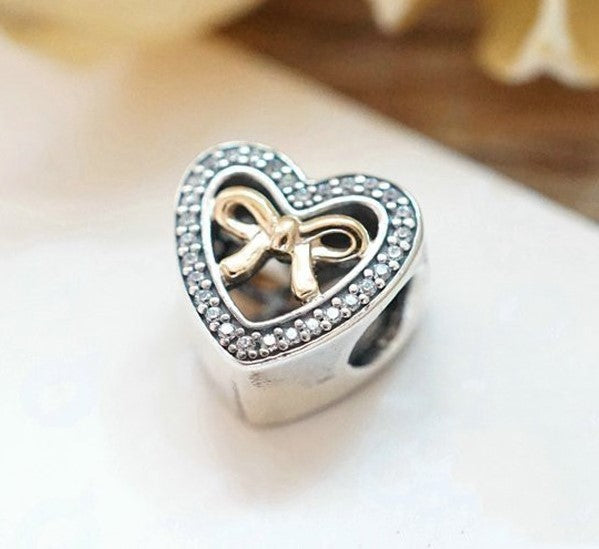 In Love Connected Heart Gold Bow Stone Charm