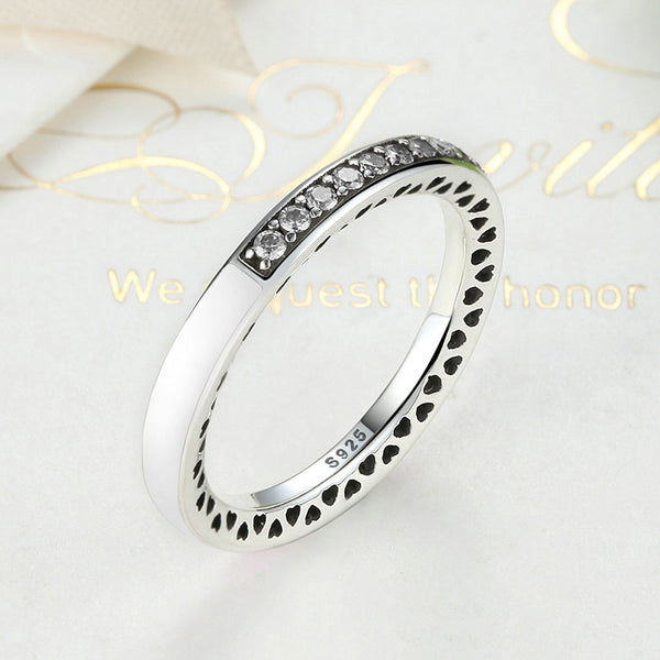 Silver Sterling Sparkling White Radiant Stackable Ring