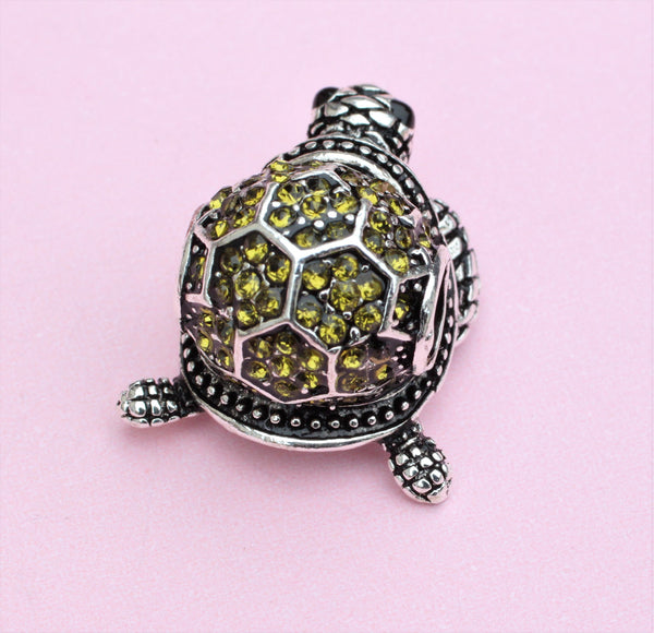 Silver Plated Sea Green Turtle Pet charm