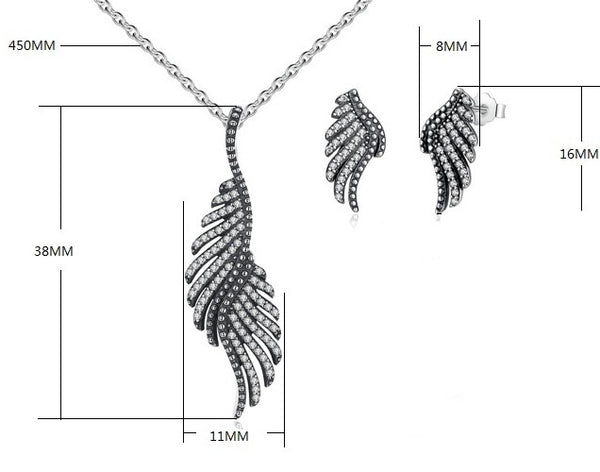 Dazzling Majestic Feathers Necklace & Earrings Gift Set