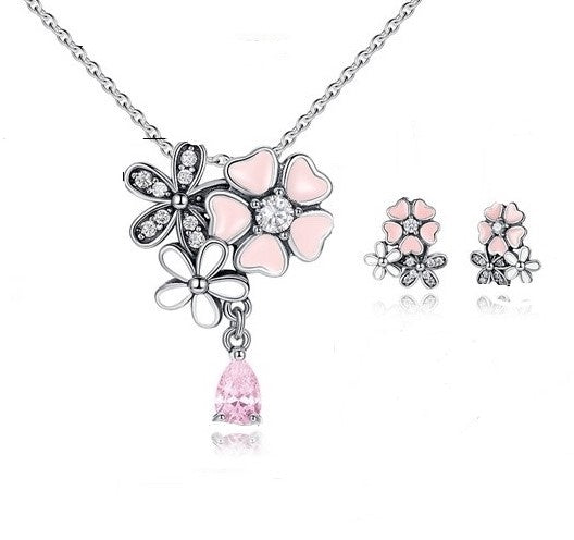 Poetic Blooms Pink Floral Necklace & Earrings Gift Set panodra style