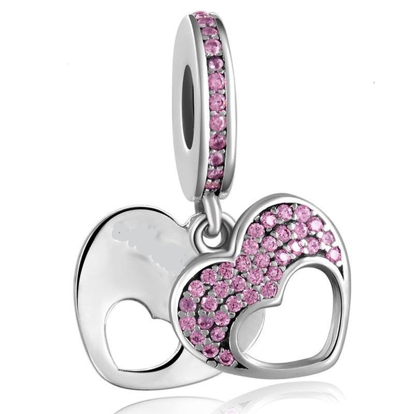 Pink Pave Twin Double Heart stone Love CZ Charm