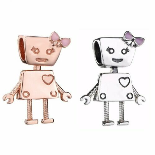 Rose Gold 925 Silver Bella Bot Pink Robot Girl Friend Charm