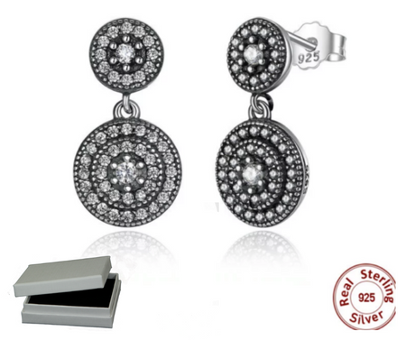 Silver Sterling Dazzling Daisy Cluster Earrings