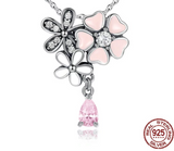 Poetic Blooms Pink Floral Necklace & Earrings Gift Set