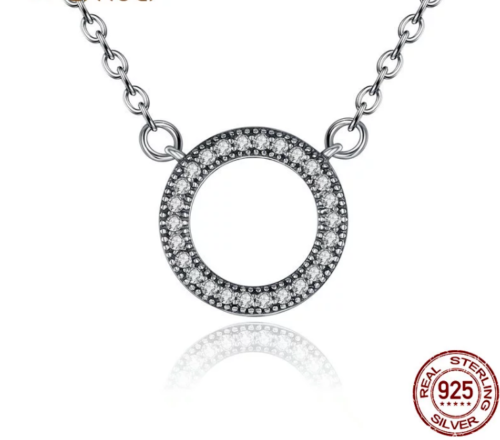 Dazzling Forever Round Necklace pandora style