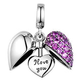 I Love you- Open Heart Purple Pave Pendant Charm