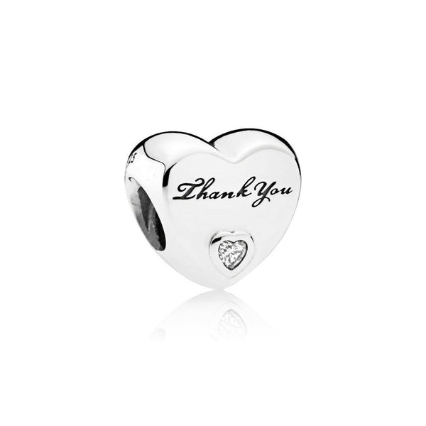 Thank You Love Heart Bracelet Charm