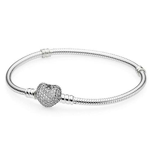 Silver Pave Heart Clasp Moments Starter snake chain Charm Bracelet