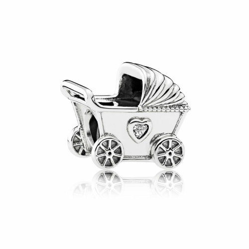 Silver Sterling Baby Pram Buggy New Mother Shower Love Heart Charm