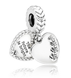 Bright Seeds Twin Heart love Dangle Pendant Charm