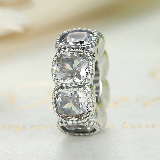 Vintage Allure Alluring Cushion CZ Stone Slim Spacer Charm