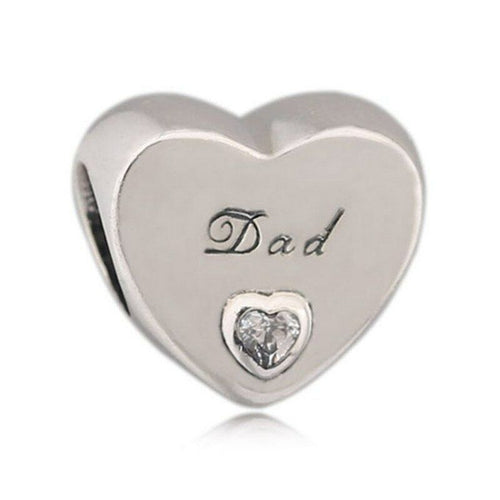 Silver DAD's Father Daughter Love Heart Charm