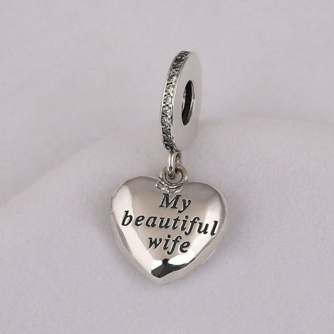 Forever & Always My Beautiful wife Open Heart Pendant Charm