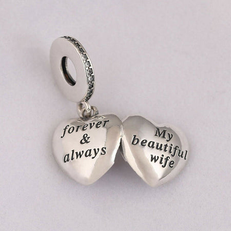 Sterling Silver Regal KEY OF LOVE Dangle Pendant Charm