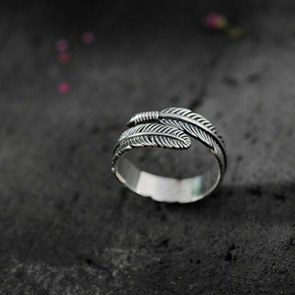 Unisex Silver Feather Ancient Vintage Style Open Ring