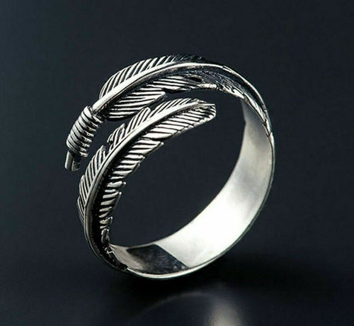 f5092d9ba Unisex Silver Feather Ancient Vintage Style Open Ring