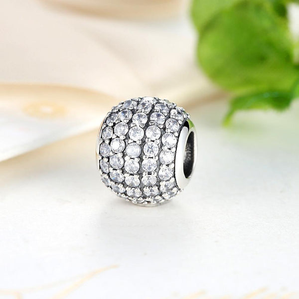 Silver Sterling white crystal Pave Ball Charm
